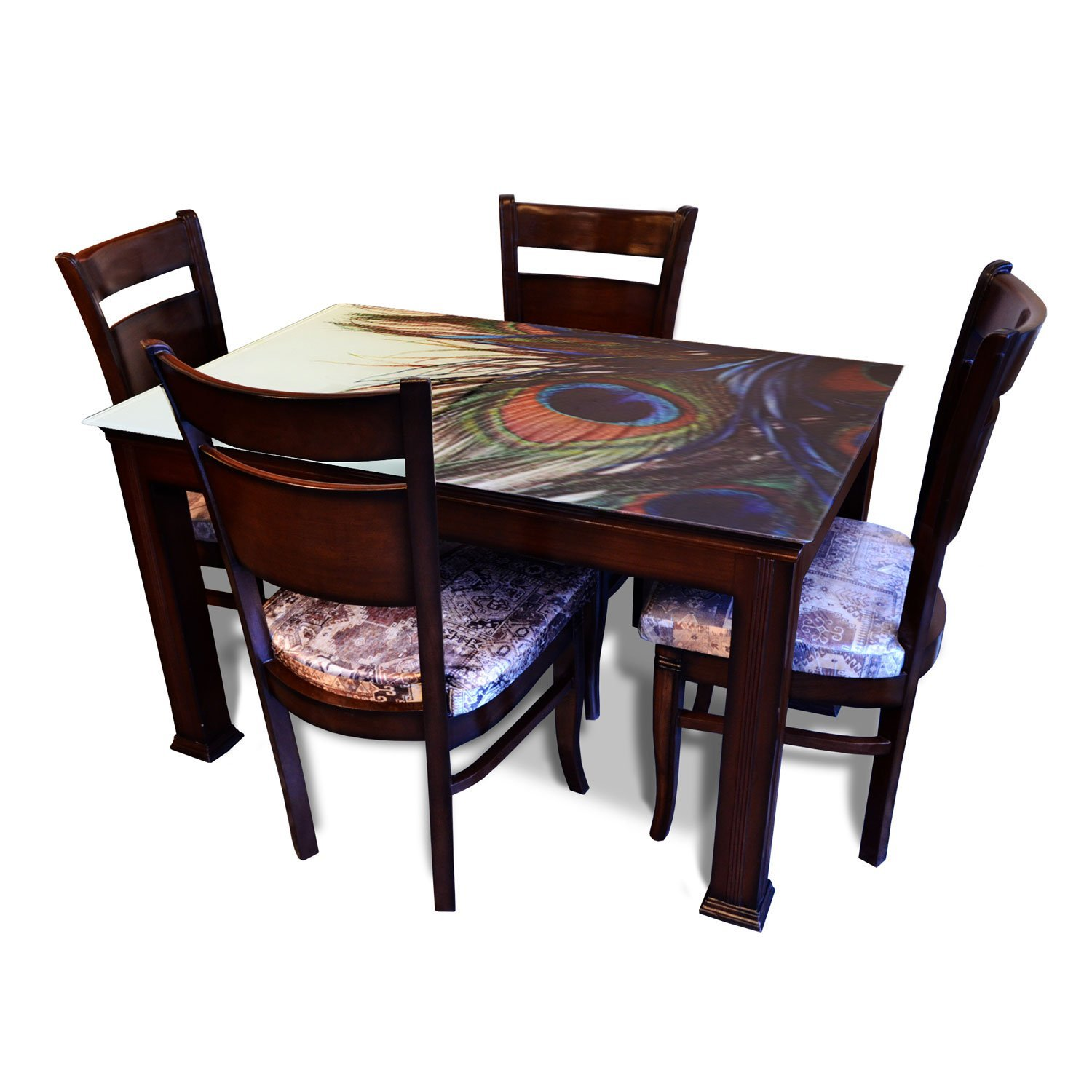 Affordable Classic 4 Seater Dining Table Set Glass Top Brown Chairs Pharneechar Online Furniture Store Delhi NCR