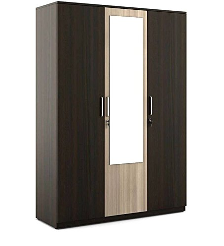 office furniture modern 3 door wardrobe acacia dark and light