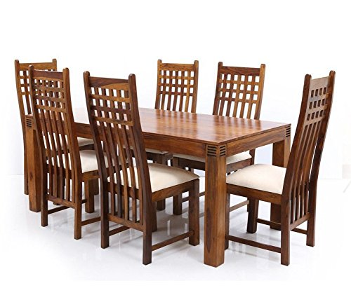 Home Dining Six Seater Table Set In Sheesham Wood Brown