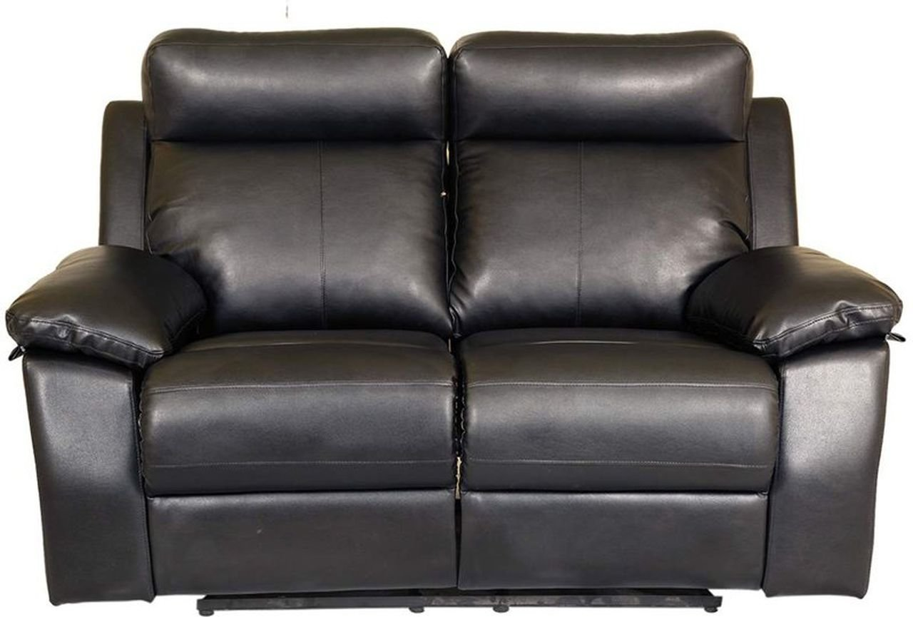 Recliners India Style Two Seater Recliner Glossy Finish Black Pharneechar Online Furniture Delhi Ncr